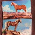 Postcards, Two Palomino Horses, Stallions, Mountains, Miniature Art, Vintage