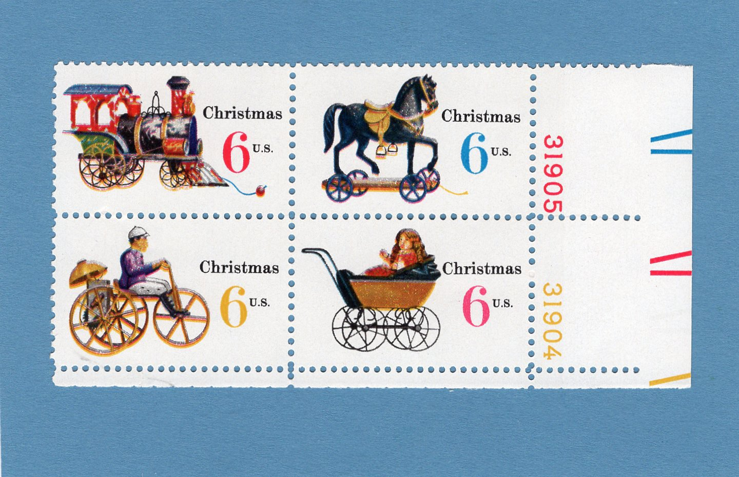 Christmas / Holiday U.S. Postage Stamps, Plate Block of Four, Vintage Toys