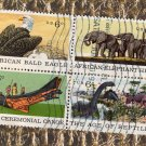 Natural History, Block of 4, U.S. Postage Stamps, Used, 6c Issue 1970, Elephants, Bald Eagle