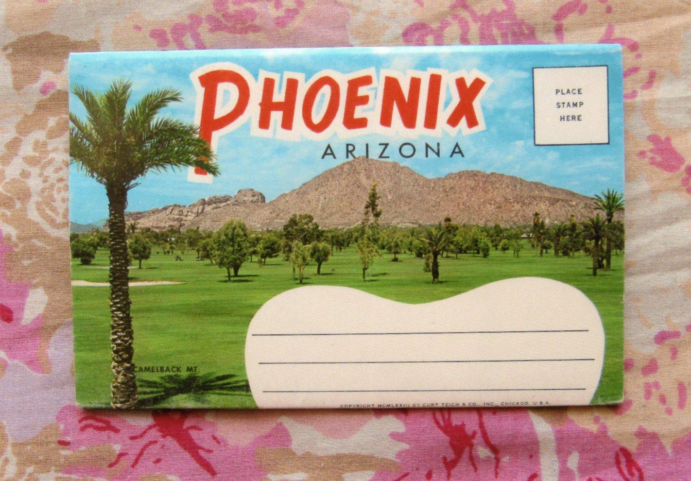 Phoenix, Arizona Vintage Postcard Folder, Fold-Out Pictures, Scenic, Street Views, Desert