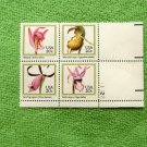 Orchids, Plate Block of 4, Wild Flowers, Postage Stamps, Garden, Plants