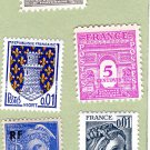 Five Postage Stamps From Frnce, Variety of Singles, Assortment, Small Collection