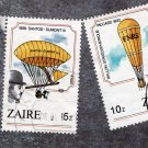 Hot Air Balloons, Lot of 2, Aircraft, Aviation, Zaire, Postage Stamps, Used, Vintage