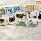 Cats / Kittens Postage Stamp Assortment Worldwide Exotic Felines Miniature Art