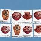 Pueblo Art, Postage Stamps, Block of 4 Plus 4 Singles, Indian, Native American