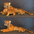 Male Lying Tiger and Cub Toys Figurines Set of Two Realistic Detail Jungle Cats
