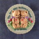 Teddy Bear Friend Charming Kitchen / Refrigerator Ceramic Magnet