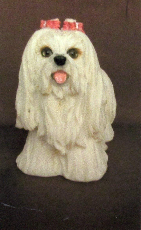 Shih Tzu Standing Dog Figurine Realistic Detail Hand-Painted Resin