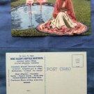 Seminole Indian Village Postcard Flamingos Native American Woman