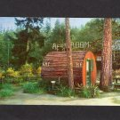 Grundy''s Redwood Terrace Postcard He & She Restrooms Tree Outhouse, Garberville, California