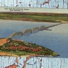 Fort Pike and Rigolets River Bridge, New Orleans, Scenic Postard, Linen, Vintage