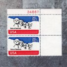 Mt. Rushmore 26c Unused U.S. Air Mail Postage Stamps Plate Block of Two
