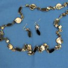 Black, Blue, Silver Stone & Iridescent Bead Necklace, Jewelry, Set, Matching Earrings