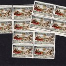 Horses & Sleigh, Winter Scene, U.S. Postage Stamps, 3 Blocks of 4, Holiday, Christmas