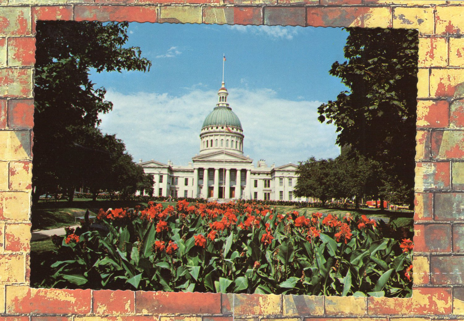Old Courthouse and Flower Garden, Mississippi River Reflections Postcard, Historic Building, Scenic