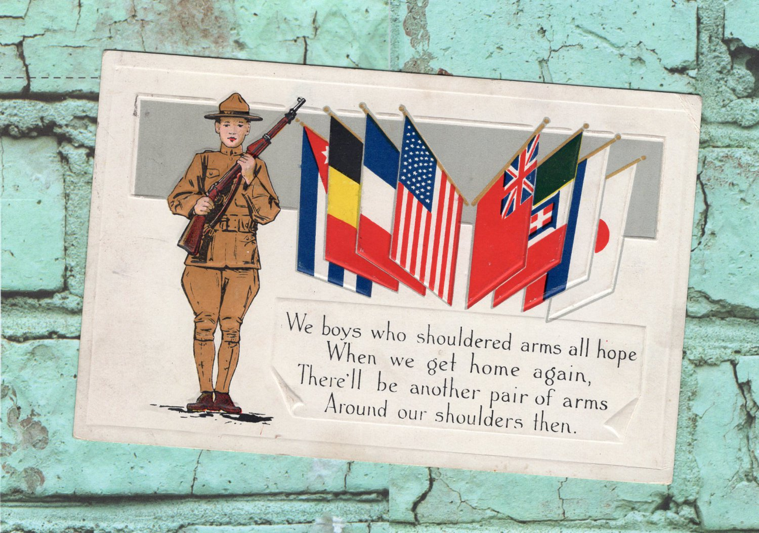Military American Soldier & Flags Postcard Antique / Vintage Doughboy
