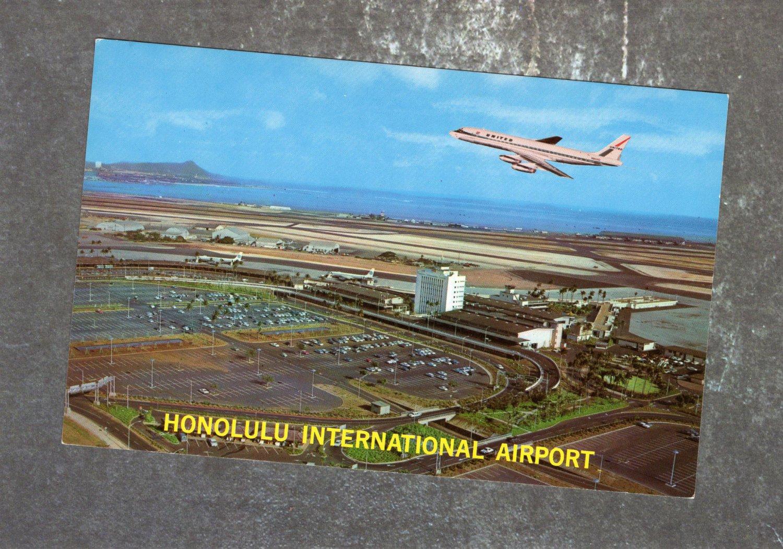 Honolulu International Airport Postcard, Jet, Airplane, Hawaii, Vintage, Aviation