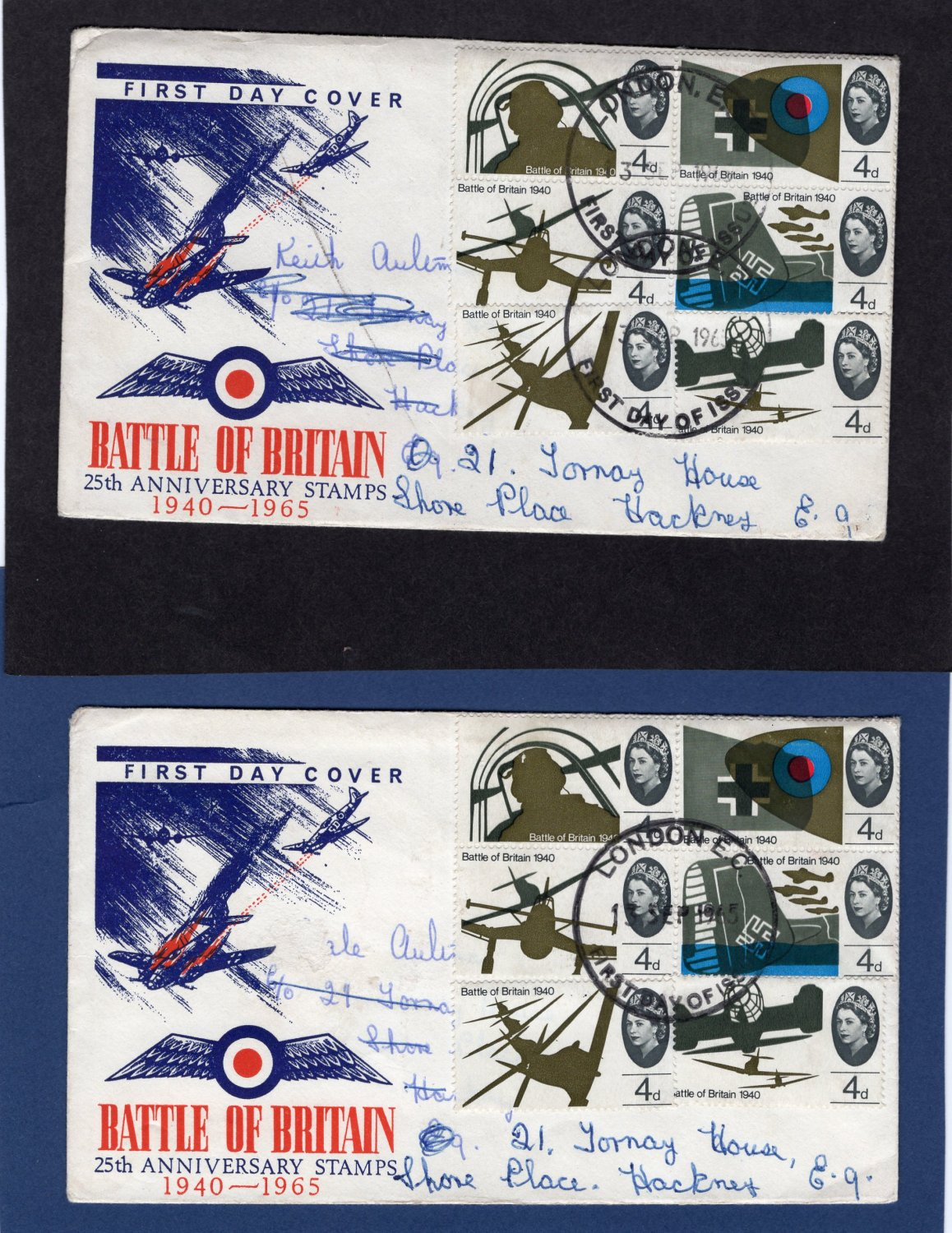 Two First Day Covers, Battle of Britain, 25th Anniversary Stamps, U.K. 1965