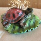 Ceramic Turtle On Lily Pad With Weeds & Grass, Sculpture, Decorative Figurine, Resin, RARE