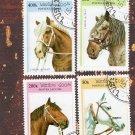Beautiful Draft Horse Head Themed Portraits Postage Stamps, Miniature Art, Laos