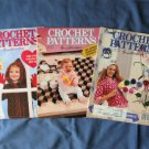 Crochet Patterns Magazines Three Issues, Instructions, Designs, Clothing, Afghans