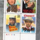 Classic Films U.S. Postage Stamps, Plate Block of Four, Movies, 25c Vintage