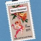 Merry Christmas Holiday U.S. Postage Stamp Single With Cherub, Bell, and Holly Louis Prang