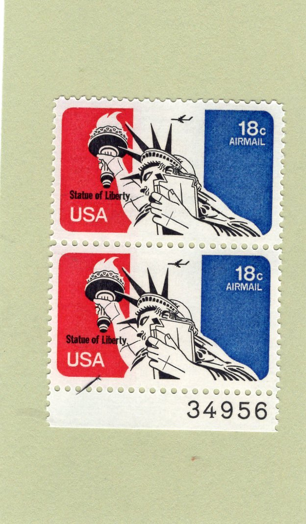 Statue of Liberty 18c Unused U.S. Air Mail Vertical Block of Two Postage Stamps