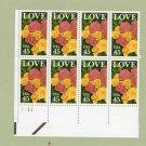 Love Roses U.S. Postage Stamps Block of 8 45c
