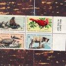 Wildlife Conservation Block of 4 U.S. Postage Stamps, Animals, Birds, Fauna