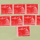 Red Air Mail U.S. Postage Stamps Airline and Capitol Dome, 1962 Issue, Scott C64