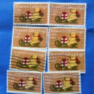 Season's Greetings Holiday / Christmas Vtg U.S. Postage Stamps Teddy Bear On Sled