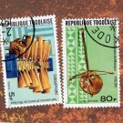 Republique Togolaise Two Postage Stamp Singles African Musical Instruments