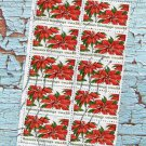 Postage Stamps Vintage Season's Greetings Holiday Christmas Poinsettia Plate Block of Ten
