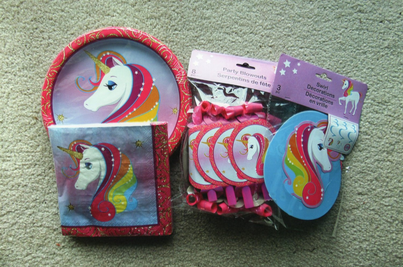 Rainbow Unicorn Themed Birthday Party Supplies, Mapkins, Plates, Blowouts