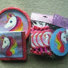 Rainbow Unicorn Themed Birthday Party Supplies, Mapkins, Plates, Blowouts