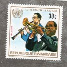 Fight Against Racism Rwanda Vintage Postage Stamp, Musicians, Music, Africa, 1972, 30c