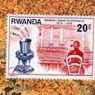 Rwanda Vtg Postage Stamp, Telephone Centenary, Manual Message Board
