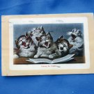 Praising The Catskills, Five Singing Furry Kittens, Antique Postcard, Artist Painting