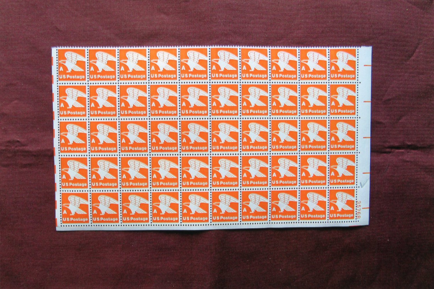 Eagle 'A' Rate Postage Stamps Orange & White, 14c, 1978, MNH, One Half Sheet