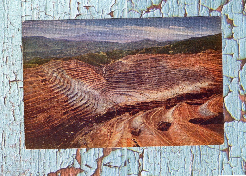 Bingham Copper Mine, Utah, Postcard, Open Pit Mining, Aerial View, Vintage