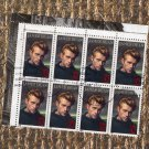 James Dean Plate Block of 8 U.S. Postage Stamps, Legends of Hollywood, 32c Vintage