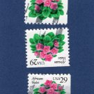 Three African Violets, Postage Stamps, Flora & Fauna Series, Flowers, Booklet Singles