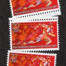 Pan American Games, Runner In Full Stride, Postage Stamps, Lot of 3, MNH, Scott 2247