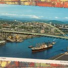Ocean Freighter, New Fremont Bridge, Willamette River Postcard, Portland, Oregon