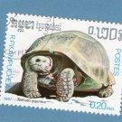 Aldabra Giant Tortoise Postage Stamp, Miniature Art, Vintage, R.P. Kampuchea