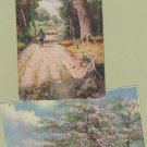 Lot of 2 Peaceful Country Scene Postcards Sheep, Shepherd, Scenic