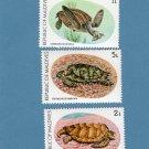 Three Sea Turtles Postage Stamps, Republic of Maldives, Vintage, Marine Wildlife