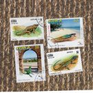 Cuba Reptiles Postage Stamps, Four Singles, Lizards, Wildlife, Anole
