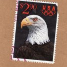 Olympics Ring U.S.A. Bald Eagle Single Postage Stamp, USPS, Vintage, 1991
